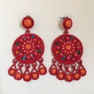 Red & multi colored earrings